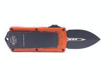 MICROTECH Exocet Black Dagger Orange Aluminum Handle Automatic Out-the-Front Knife