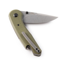 GOLPHERS Ace Stonewash Drop Point OD Green G10 Handle Folding Knife