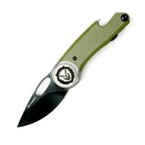GOLPHERS Wichita Black Stonewash Drop Point OD Green G10 Handle Folding Knife