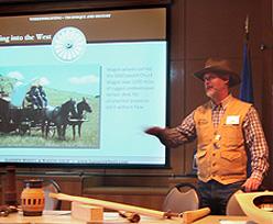 Founder Doug Hansen giving a historic wheelwright presentation