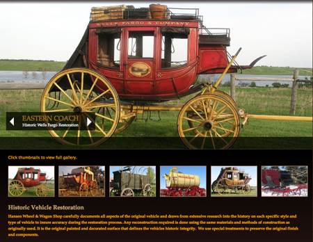 Historic restoration of Wells Fargo stagecoach and gallery