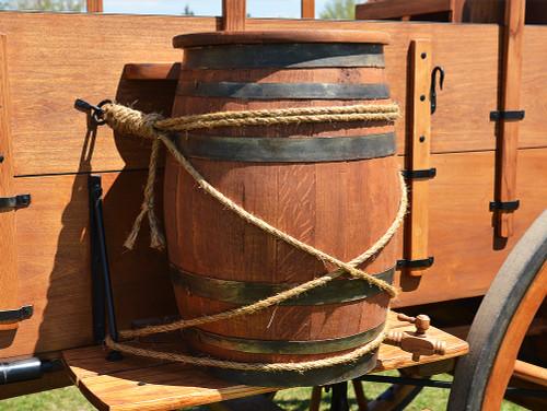 Hinged Lid Oak Barrel for Chuck Wagons