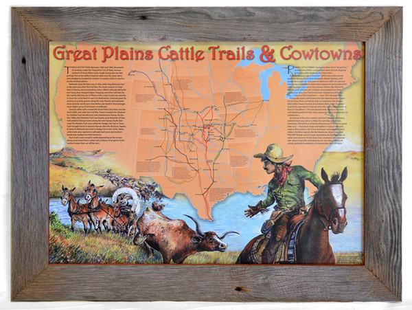 Great Plains Cattle Trails and Cowtowns Poster