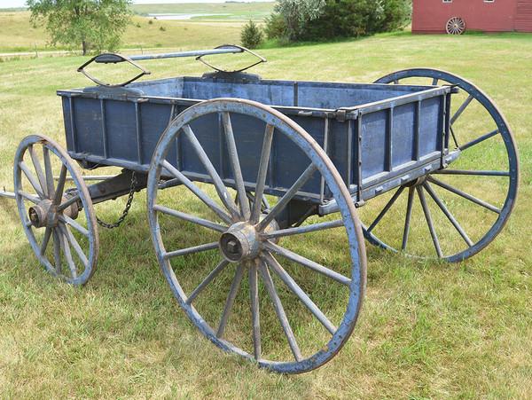 Blue Colonial Farm Wagon