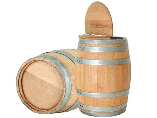 Hinged Lid Oak Barrel with Lid Open