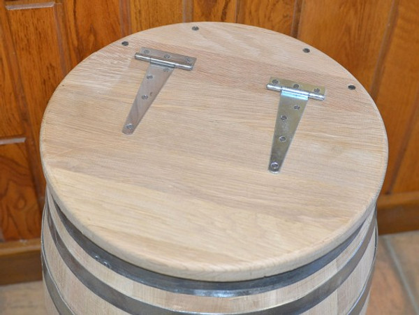 Hinged Lid of Oak Water Barrel