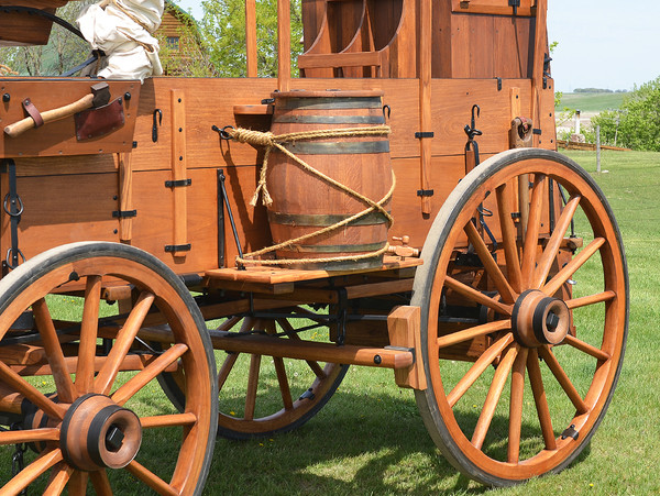 Hinged Lid Oak Barrel mounted on Chuck Wagon
