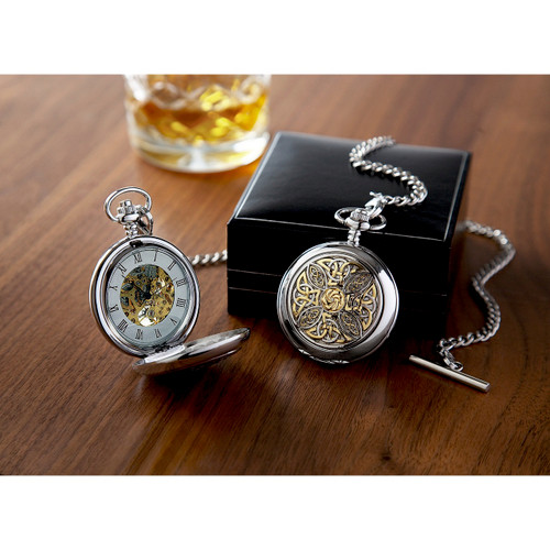 Skeleton Pocket Watch & Chain