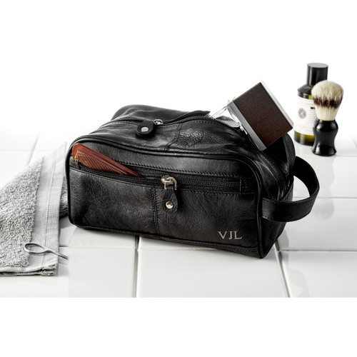 Personalised Mens Leather Washbag