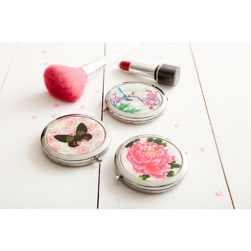 Floral and Butterfly Compact Mirrors - Set of 3