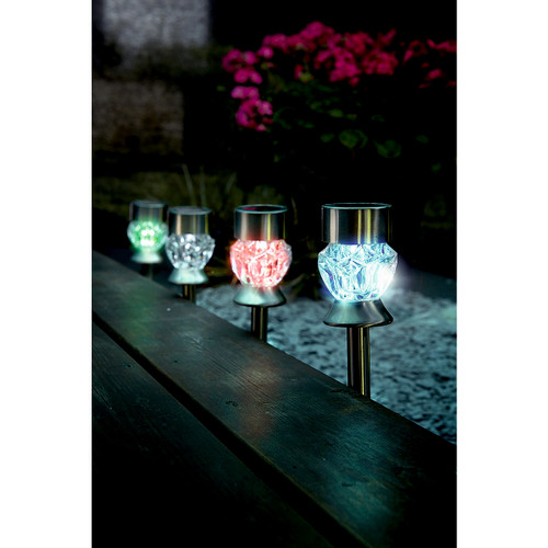 Crystal Glass Colour-Changing Solar Lights - Set of 4