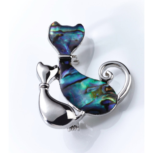 Paua Shell Cat Brooch
