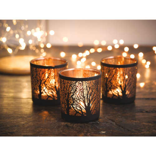 Glass and Copper Forest Tealight Votives - Set of 3