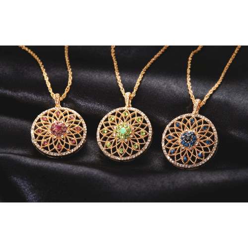 Floral Pendant & Gold Plated Chain