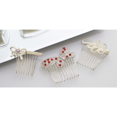 Vintage Style Jewelled Hair Combs - Set of 3