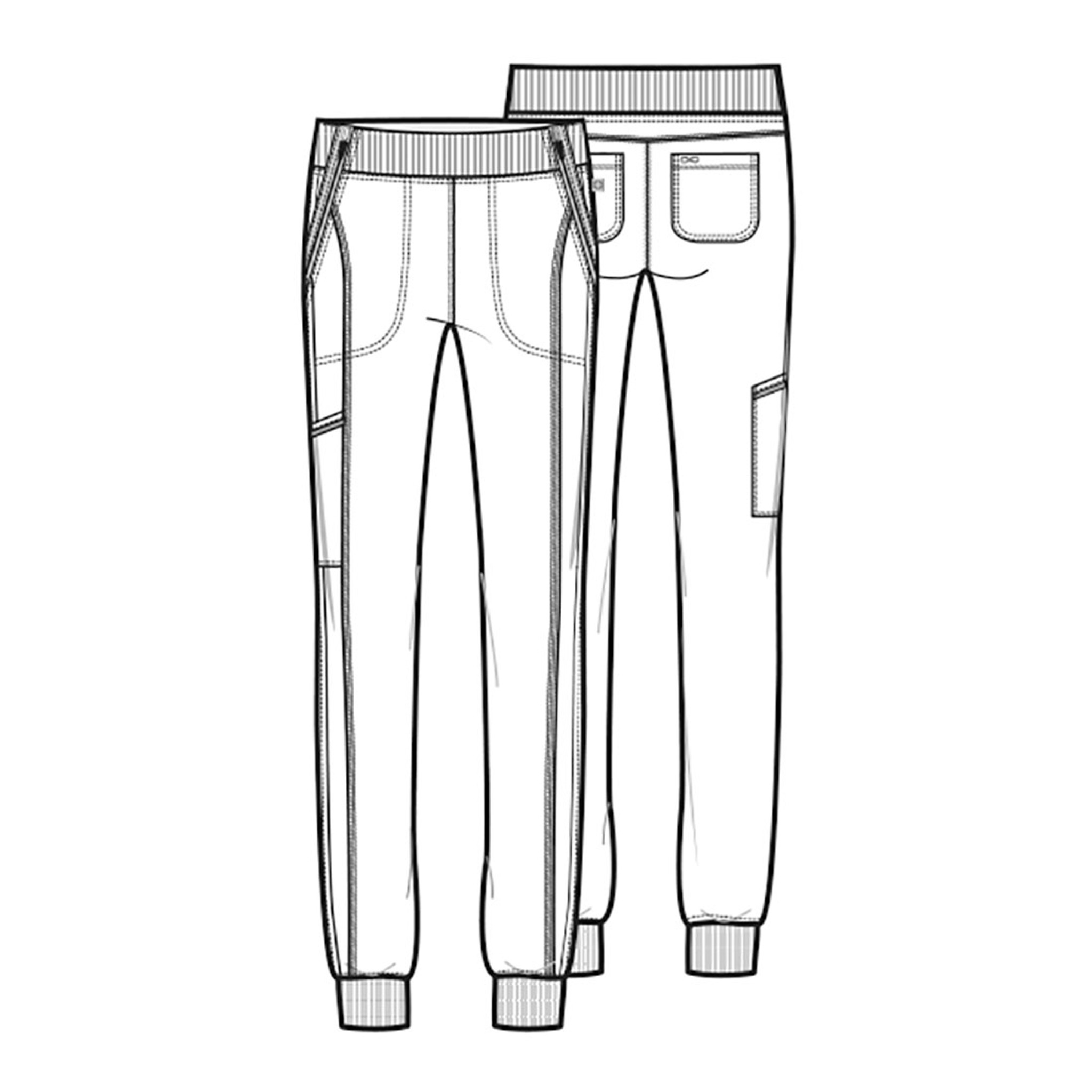 Cherokee Infinity CK110A Women's Sporty Mid Rise Tapered Leg Jogger Scrub Pants with Elastic Knit Waist and Five Pockets (CK110A) Line Detail