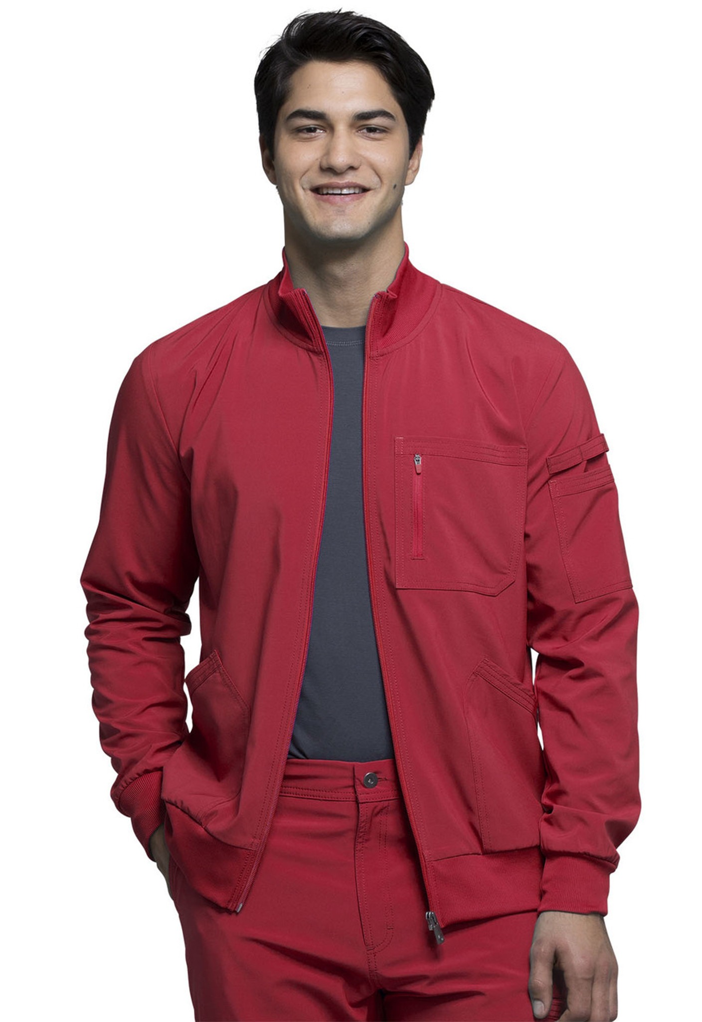Cherokee Infinity CK305A Men's Antimicrobial Zip Front Scrub Jacket with Collar, Four Pockets, and Rib Knit Detail (CK305A)