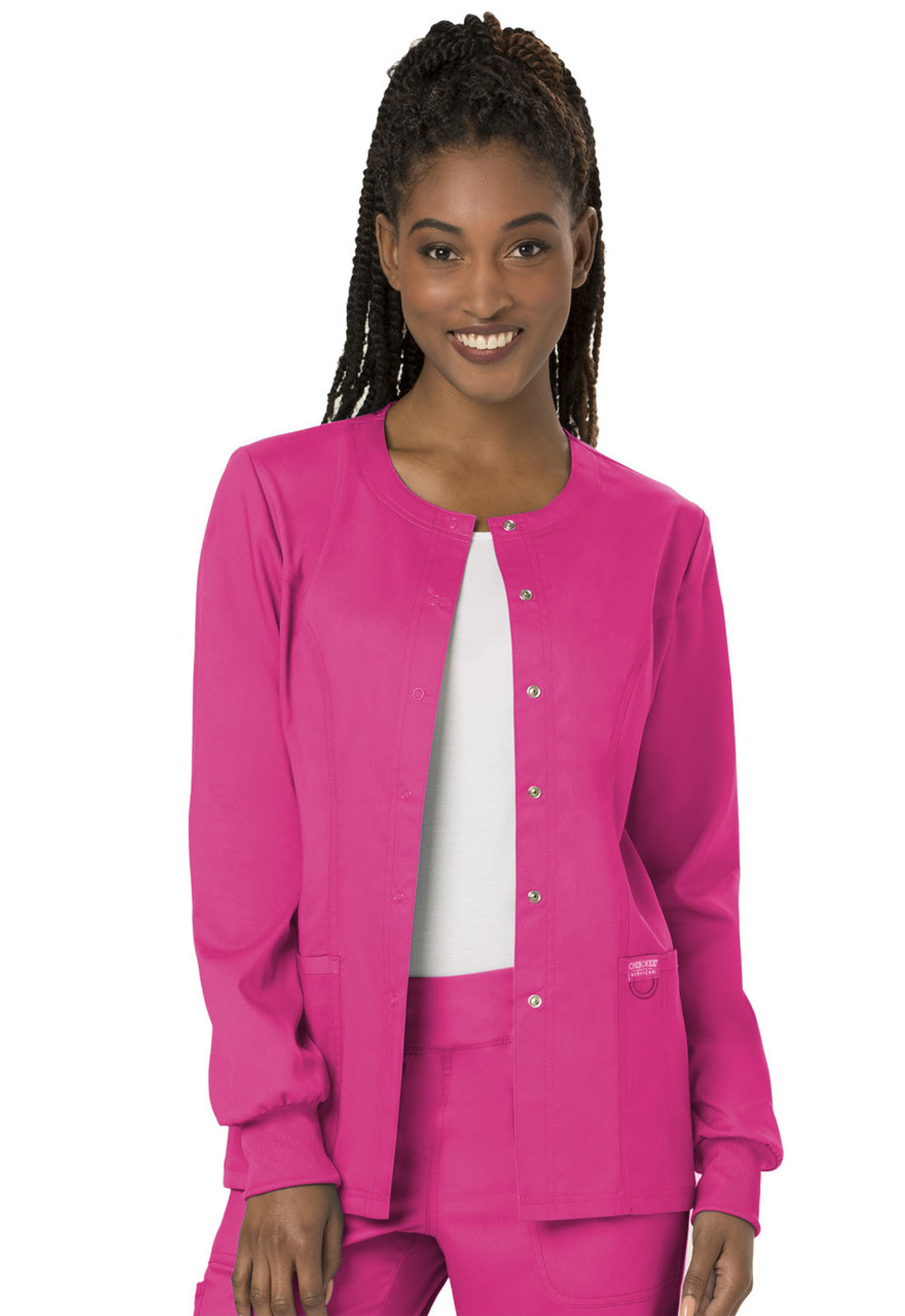 9f227eec952 Cherokee Workwear Revolution WW310 Women's Snap Front Warm-up Scrub Jacket  ...