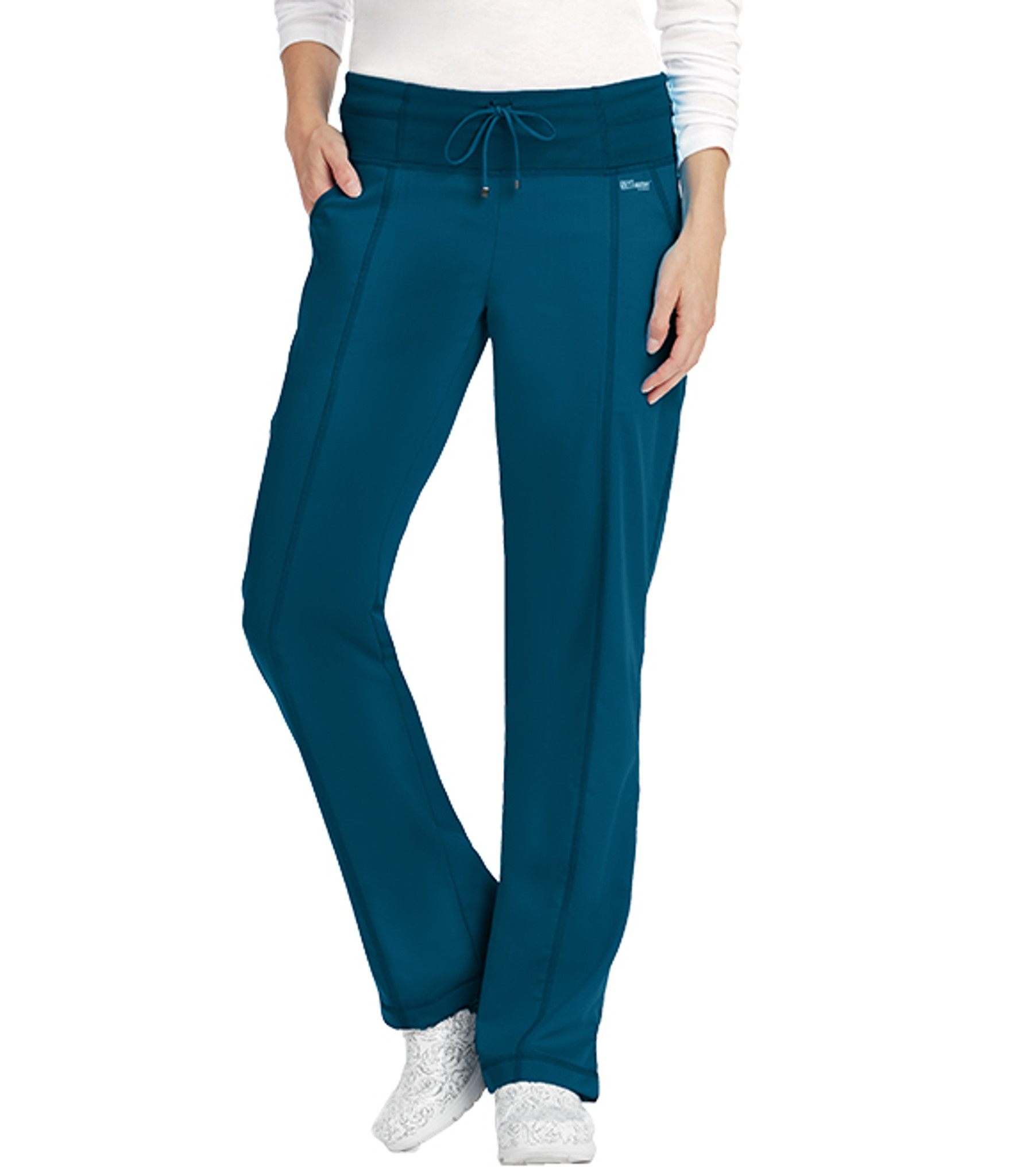 Barco Grey's Anatomy Active yoga waist women's scrub pants is on trend with a soft and wide yoga waist band with a fashion drawstring tie front to keep you comfy all shift long. Four spacious pockets give you plenty of room to hold your accessories and nursing gear. (4276) Model