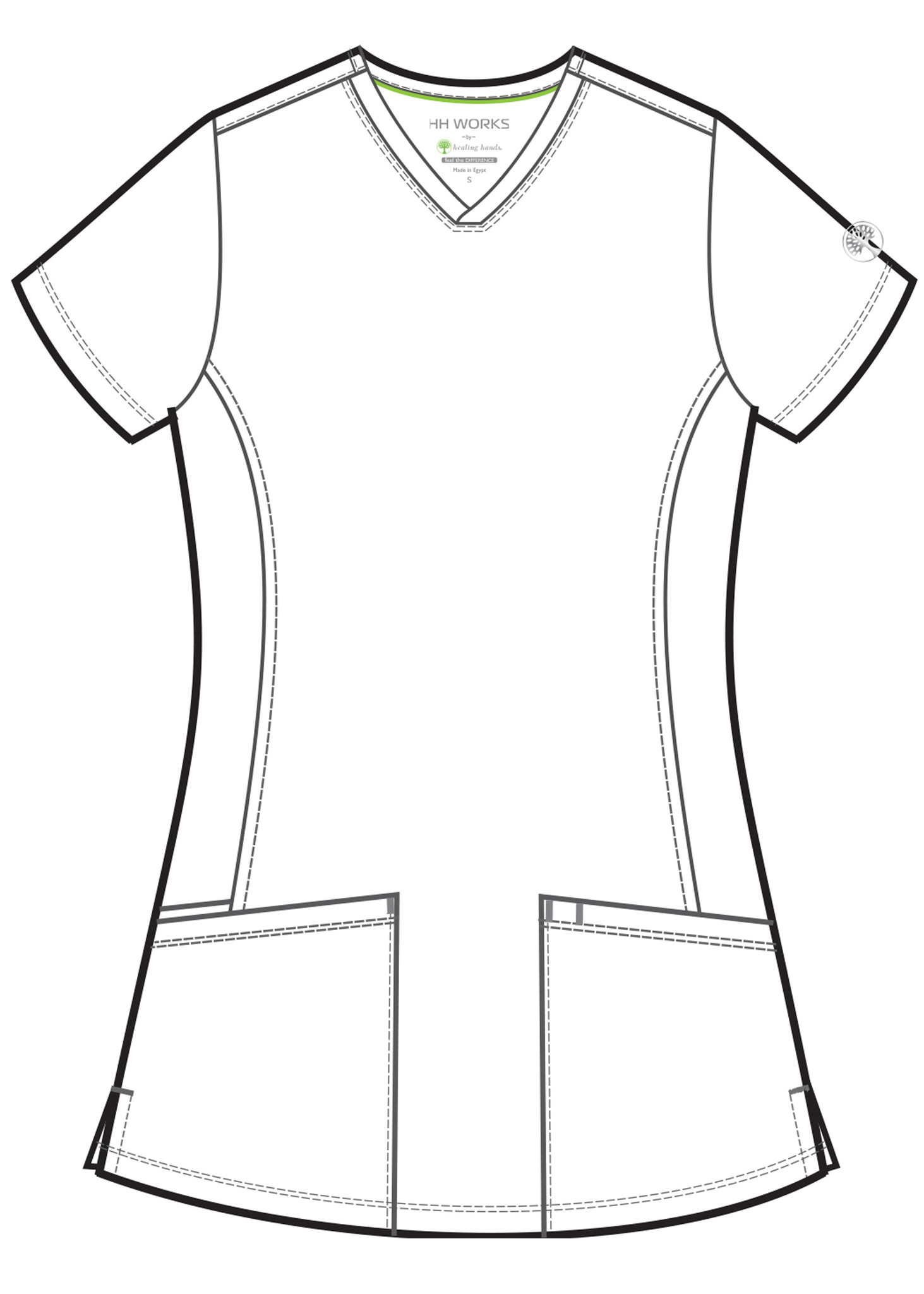 Healing Hands HH Works 2500 Monica Women's Scrub Top with v-neck, princess seams, and two pockets, spandex stretch and four way stretch. Line art image front.