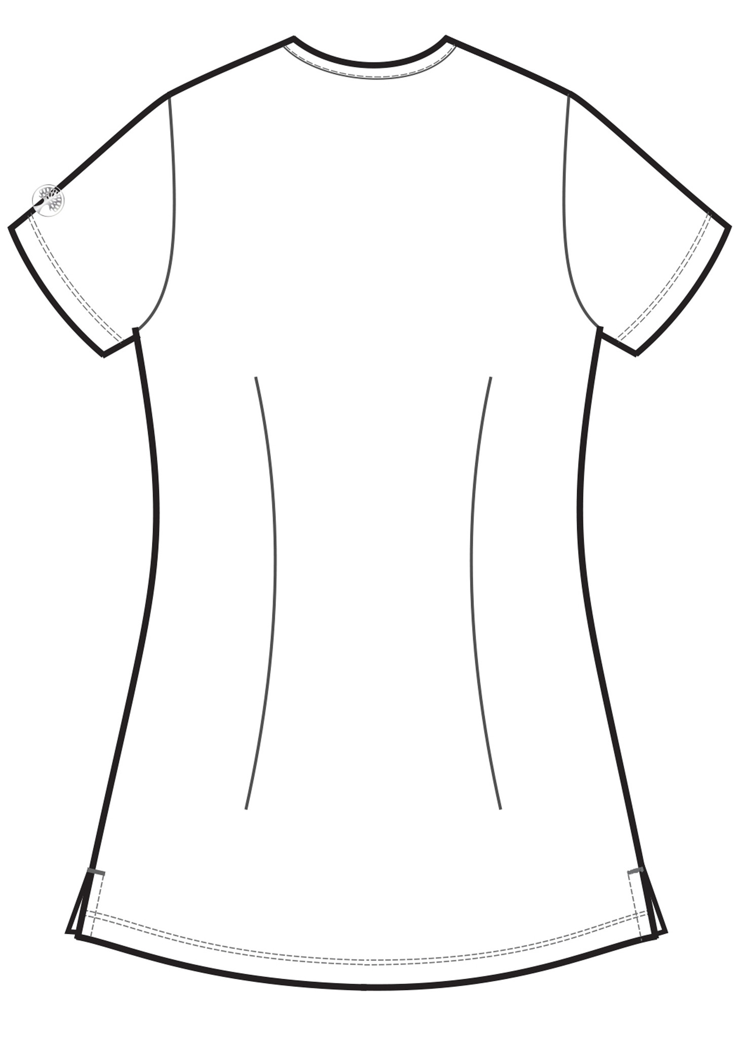 Healing Hands HH Works 2500 Monica Women's Scrub Top with v-neck, princess seams, and two pockets, spandex stretch and four way stretch. Line art image back.