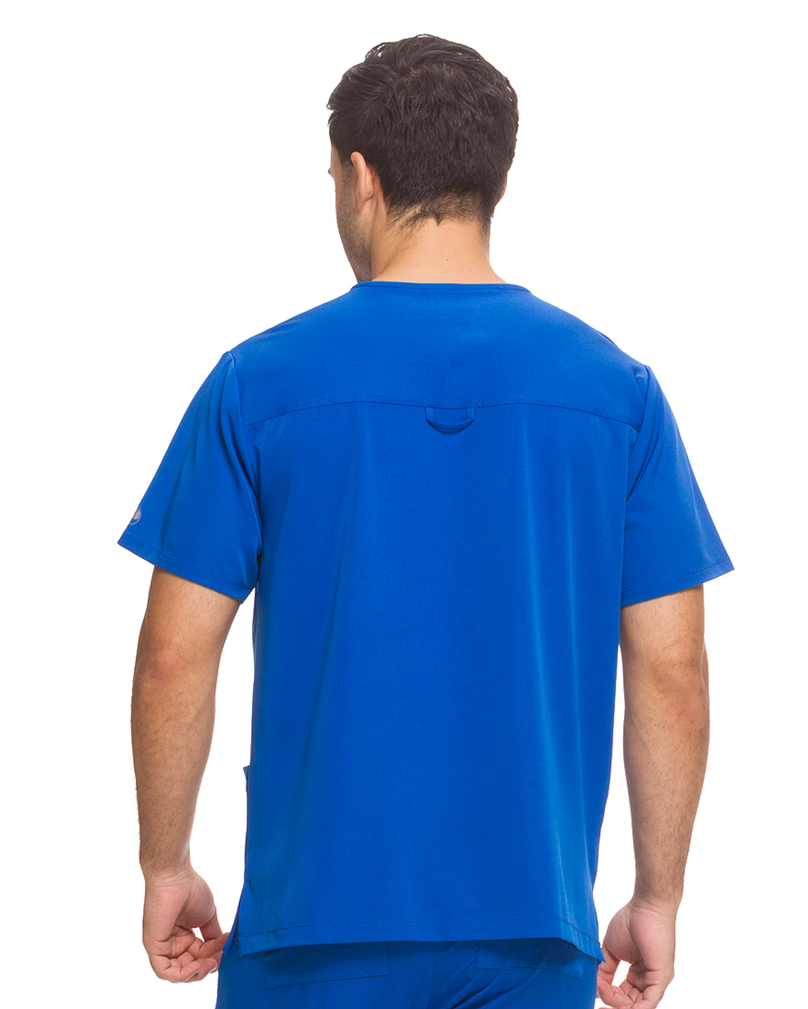 Healing Hands HH Works 2590 Matthew Men's Scrub Top with three pockets, locker loop, and side seam vent. Model image BACK.