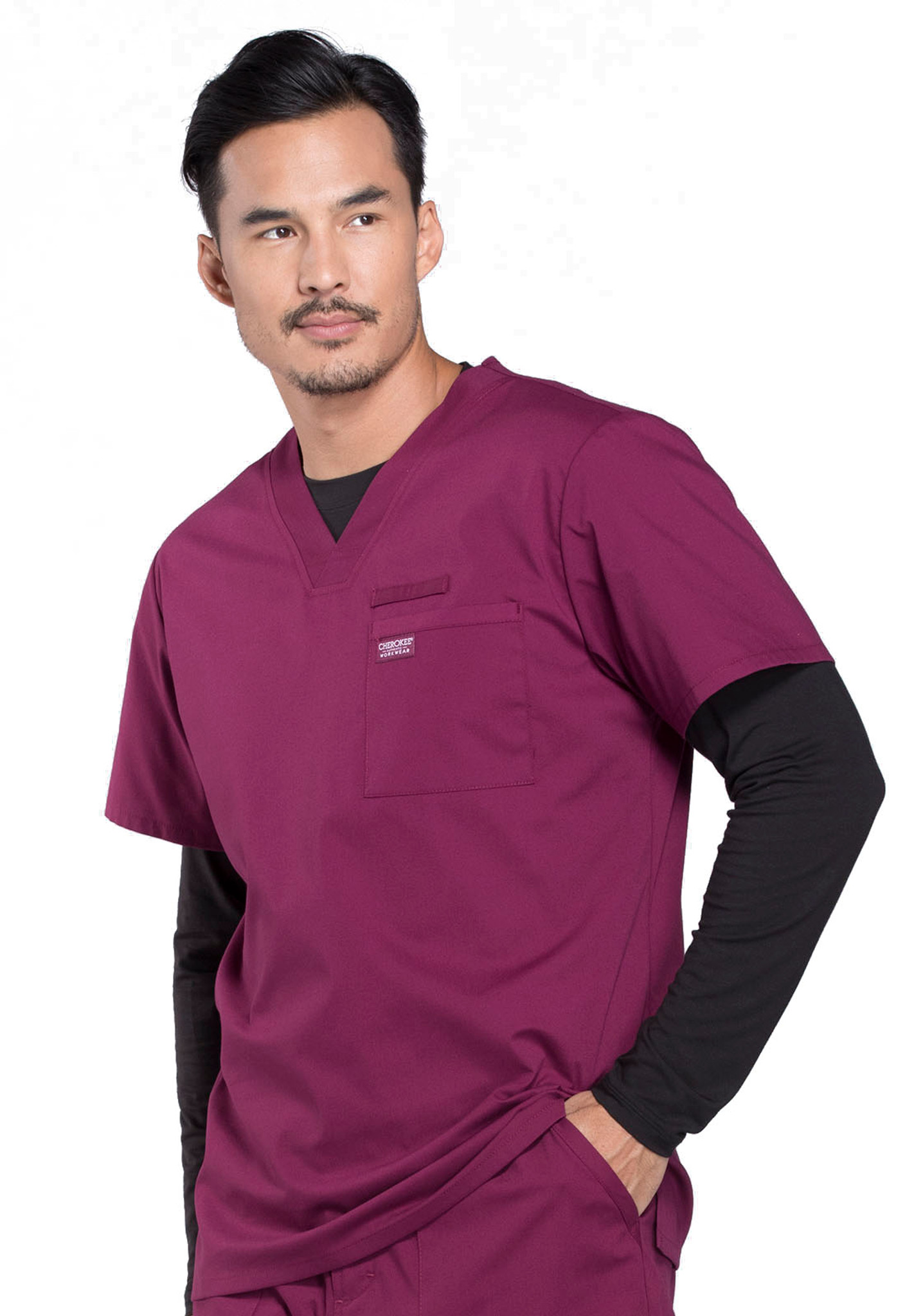 Cherokee Workwear Professionals WW675 Men's V-Neck Scrub Top, Left