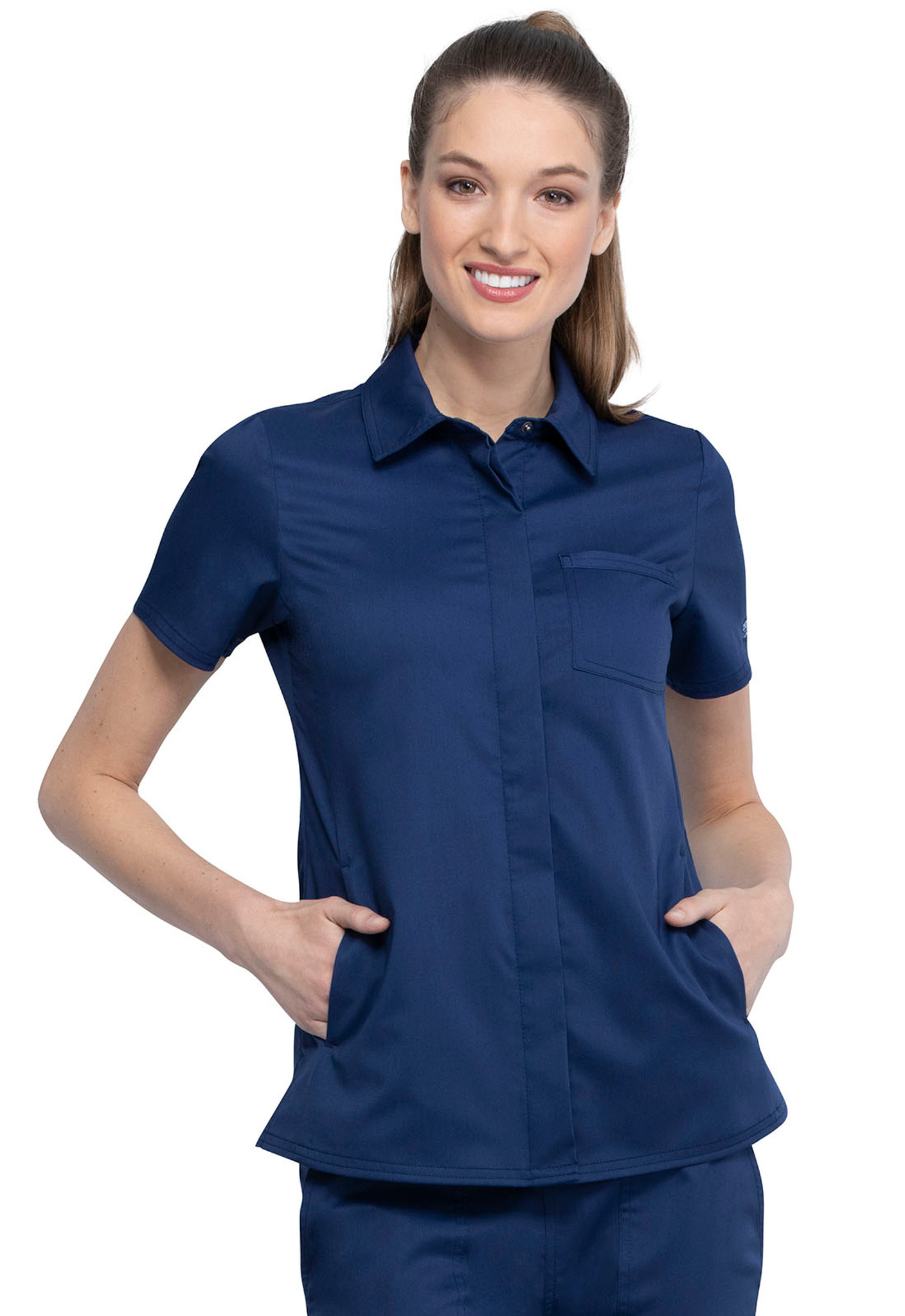 Cherokee Workwear Revolution WW669 Women's Chic Snap Front Collared Scrub Top, Front