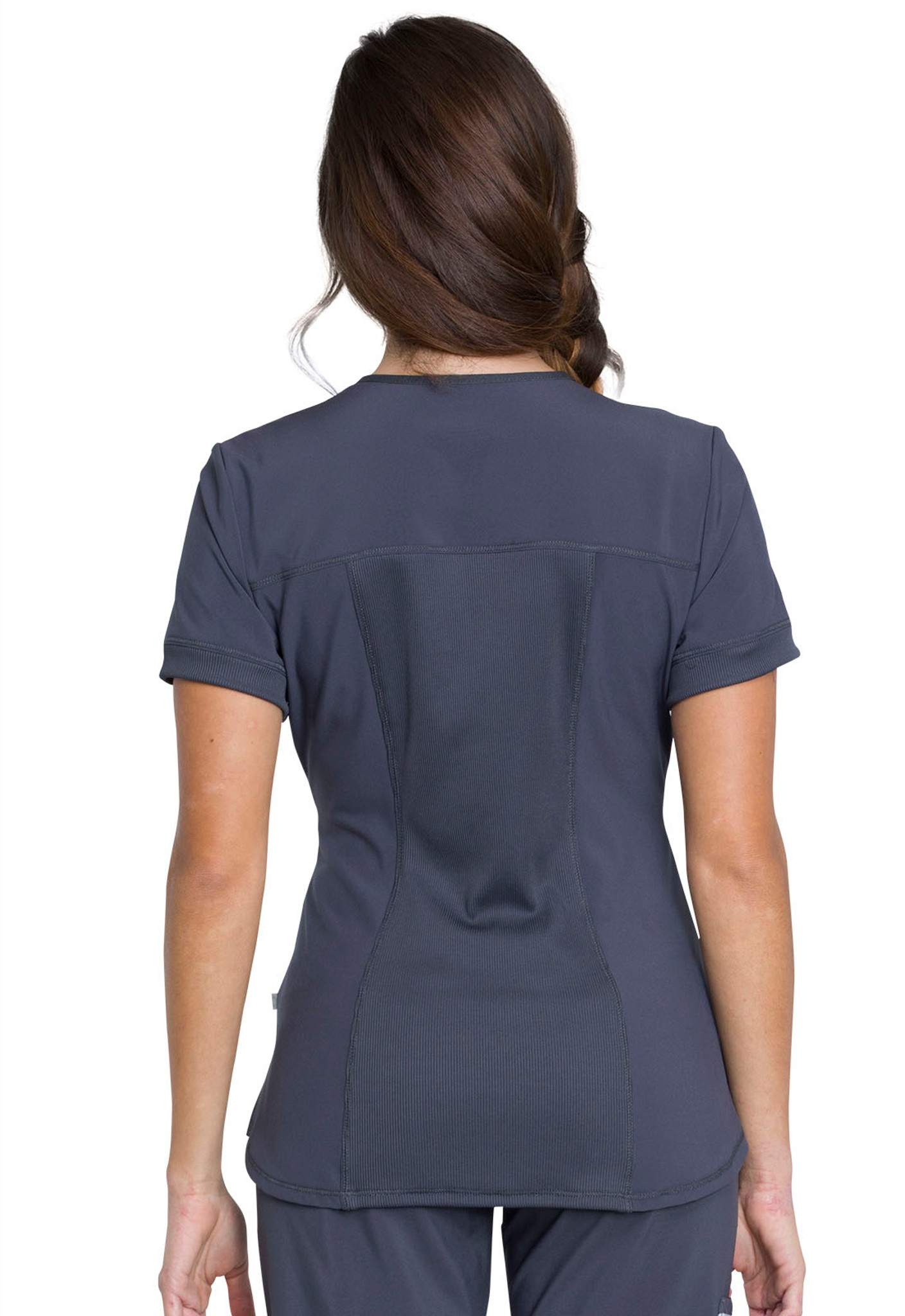 Cherokee Infinity CK810A Antimicrobial Women's Zip Front Scrub Top With 2 Pockets, Princess Seams, Back