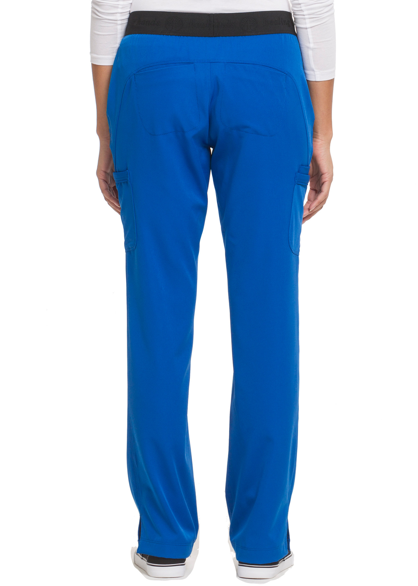 Healing Hands HH Works 9500 Rachel Women's Scrub Pant with 6 pockets including double cargo pockets and double back pockets, elastic waist, straight leg, and four way spandex stretch. Model image back.