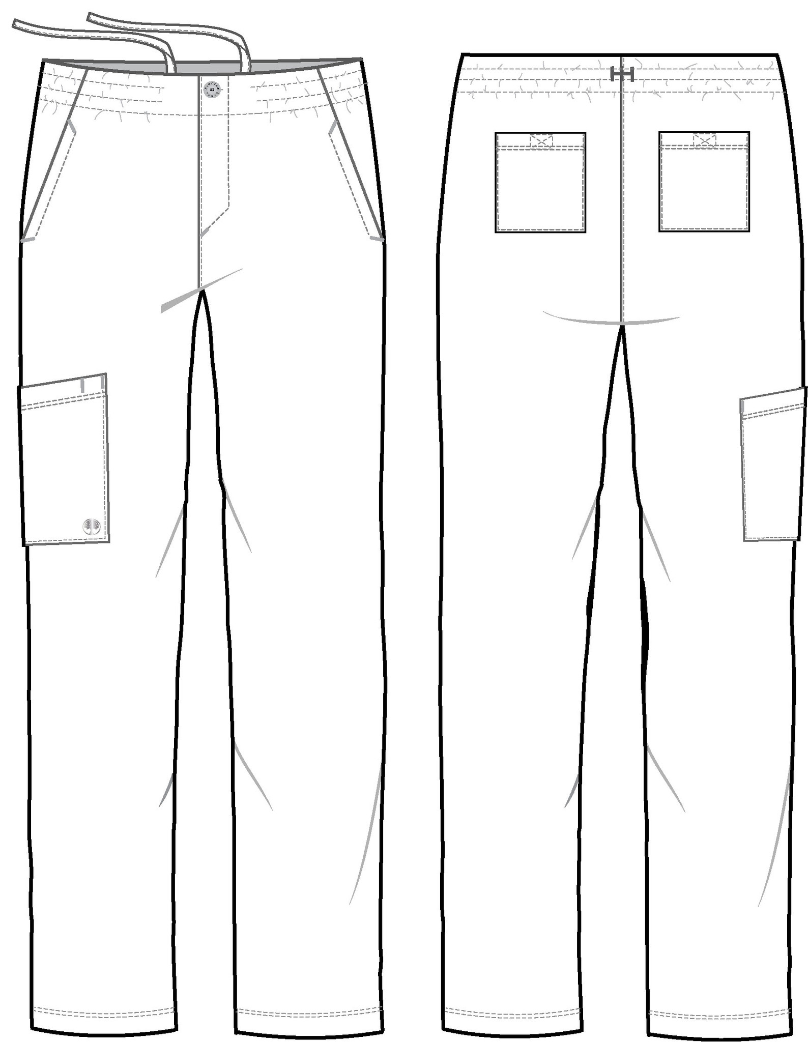 Healing Hands HH Works 9590 Ryan Men's Scrub Pant featuring drawstring tie front waist with elastic back, button and zip fly, five pockets including two back pockets and a cargo pocket, straight leg, and four way spandex stretch. line art Image front / back.