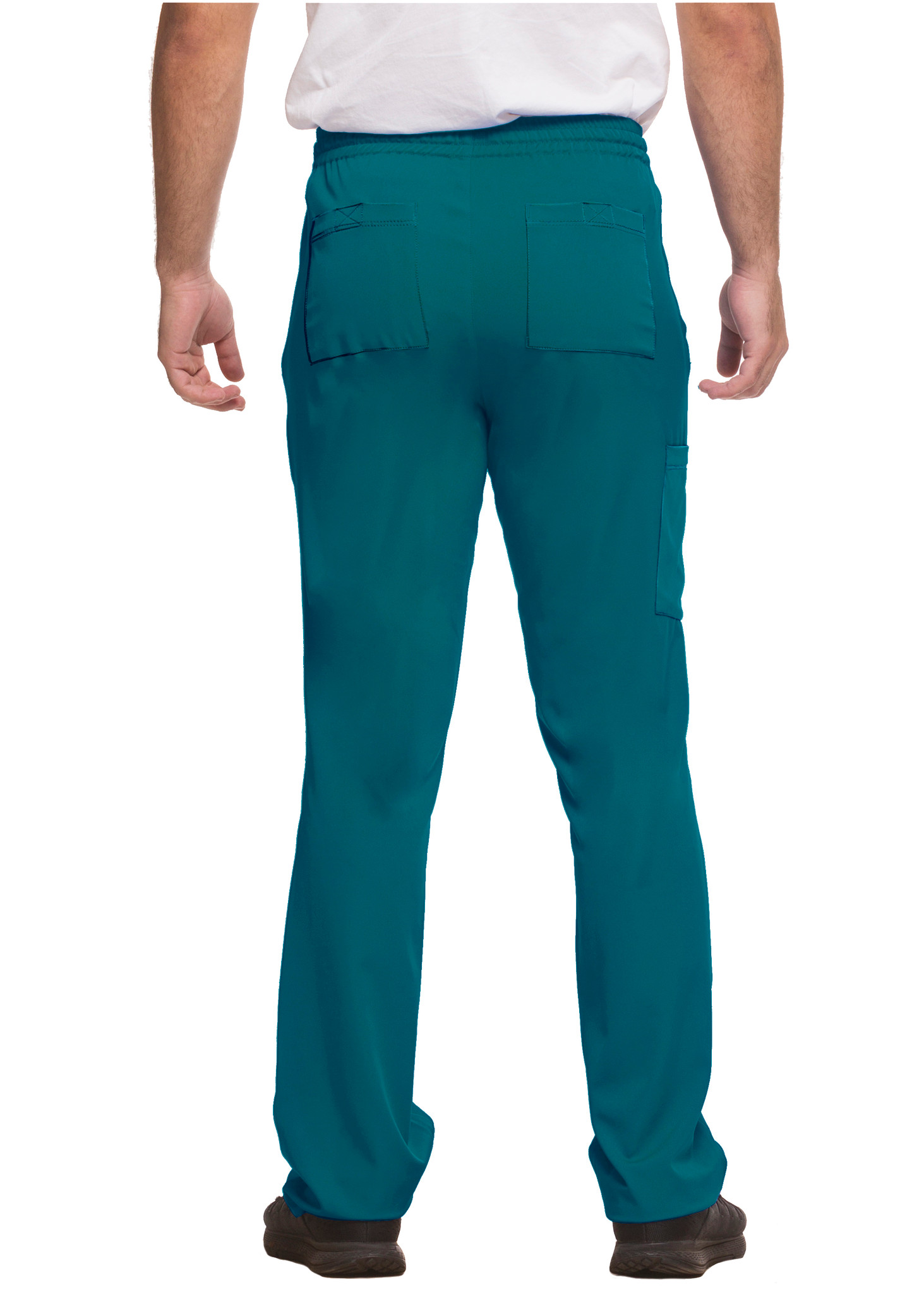Healing Hands HH Works 9590 Ryan Men's Scrub Pant featuring drawstring tie front waist with elastic back, button and zip fly, five pockets including two back pockets and a cargo pocket, straight leg, and four way spandex stretch. Model Image back.