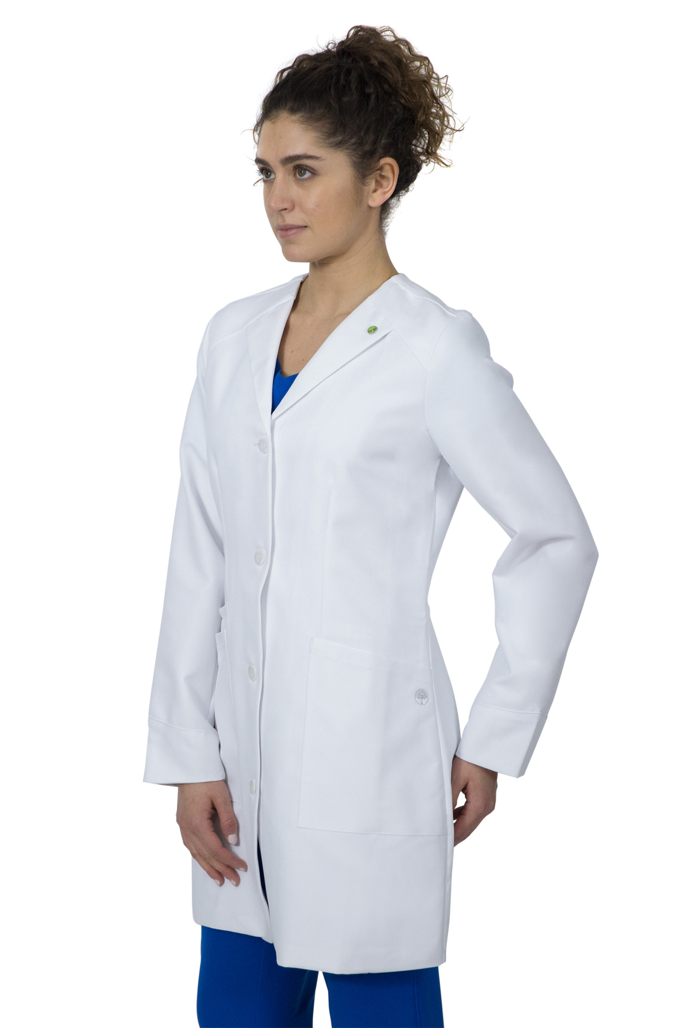 Healing Hands White Coat 5102 The Professional Farrah Women's Lab Coat with Fluid Protection and Wrinkle Resistance Side Image