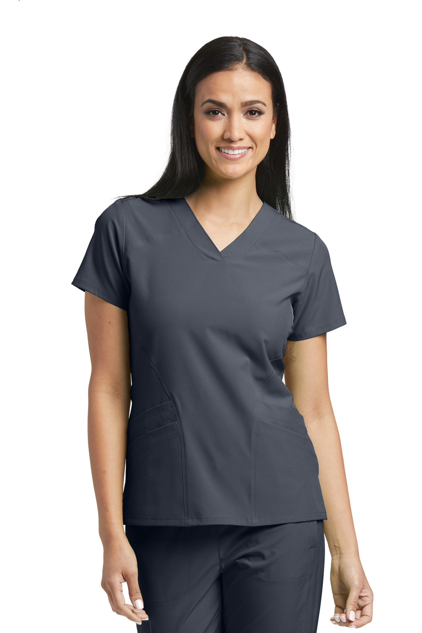 Barco ONE 5105 Women's Four Pocket Perforated Detail Performance V-Neck Scrub Top Front