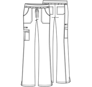 Cherokee Workwear Core Stretch 24001 Women's Low Rise Drawstring Cargo Scrub Pant with a tie front and flare leg with ankle vents (style 24001) Line art image