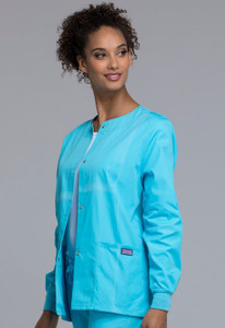 Cherokee Workwear Originals 4350 Women's Snap Front Warm-Up Scrub Jacket with Crew Neck and Knit Cuffs(4350)