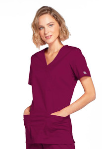Cherokee Workwear Core Stretch Style 4728 Women's Mock Wrap Scrub Top with Princess Seams and Two Pockets (4728)