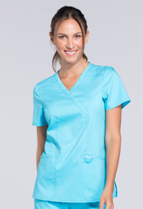 Cherokee Workwear Revolution WW610 Mock Wrap Two Pocket Women's Scrub Tops