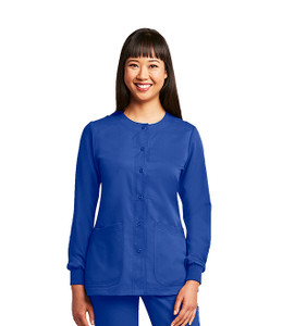 Barco Grey's Anatomy classic style women's scrub jacket features four pockets and snap front closure; a perfect addition to keep warm on cold days. This scrub jacket has a round neckline and knit cuffs. Style 4450 on Model.