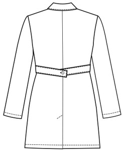 """Grey's Anatomy 4481 Women's Three Pocket 34"""" Banded Labcoat by Barco (4481) Style Sketch Back"""