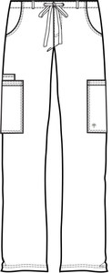Healing Hands Blue Label 9124 Dylan Men's Scrub Pants with Cargo Pockets and Tie Front, Line Art Front
