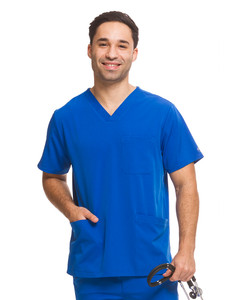Healing Hands HH Works 2590 Matthew Men's Scrub Top with three pockets, locker loop, and side seam vent. Model image front.
