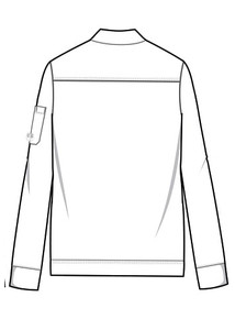 Healing Hands HH Works 5590 Michael Scrub Jacket with full zip and four pockets. Line art image back.