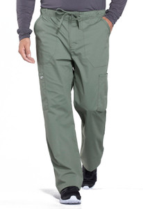 Cherokee Workwear Professionals WW190 Men's Button Front Drawstring Scrub Pants, Front