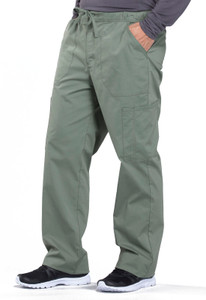 Cherokee Workwear Professionals WW190 Men's Button Front Drawstring Scrub Pants, Right
