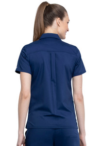 Cherokee Workwear Revolution WW669 Women's Chic Snap Front Collared Scrub Top, Back