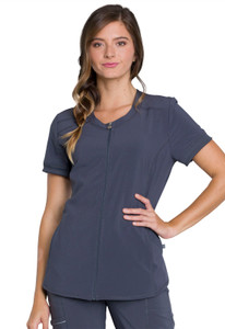 Cherokee Infinity CK810A Antimicrobial Women's Zip Front Scrub Top With 2 Pockets, Princess Seams, Front