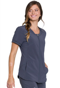 Cherokee Infinity CK810A Antimicrobial Women's Zip Front Scrub Top With 2 Pockets, Princess Seams, Right