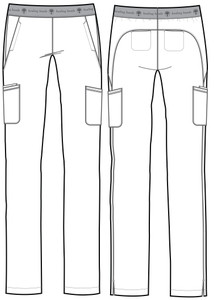 Healing Hands HH Works 9500 Rachel Women's Scrub Pant with 6 pockets including double cargo pockets and double back pockets, elastic waist, straight leg, and four way spandex stretch. Line art image.