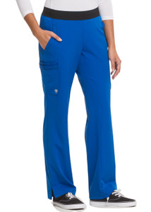 Healing Hands HH Works 9500 Rachel Women's Scrub Pant with 6 pockets including double cargo pockets and double back pockets, elastic waist, straight leg, and four way spandex stretch. Model image front.
